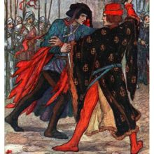 Two men are fighting in the courtyard of a castle, one with a knife, the other with a hatchet