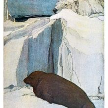 A seal is lying on an ice field, unaware of the polar bear crouching above its head