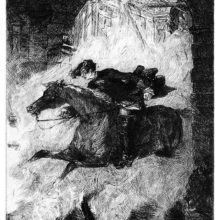 A man on horseback shoots through the arched gate of a burning castle