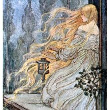 A woman is standing on her balcony, letting her loose, flame-like hair flow in the wind