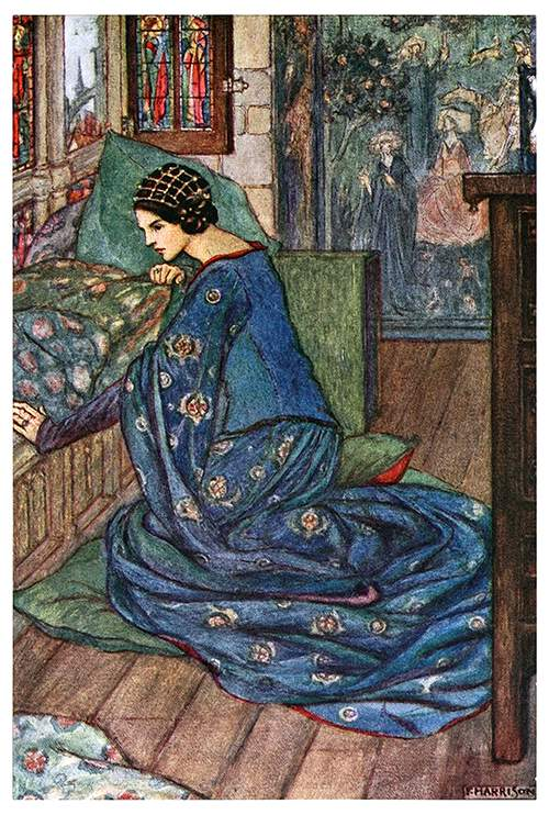 A woman is kneeling by the side of her bed, looking pensive