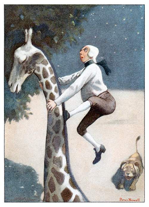 Baron Munchausen runs up the neck of a giraffe to escape a lion chasing after him