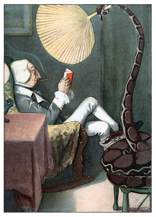 Baron Munchausen is reading in an armchair as a boa constrictor waves a fan with its tail