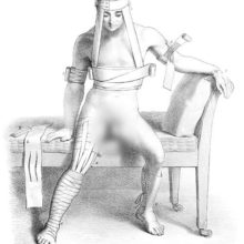 Medical plate showing a sitting man wearing a variety of bandages on his limbs, chest, and head