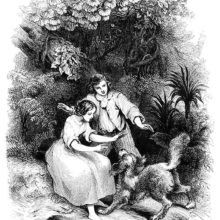 A girl and a boy welcome a dog in a landscape of lush tropical vegetation