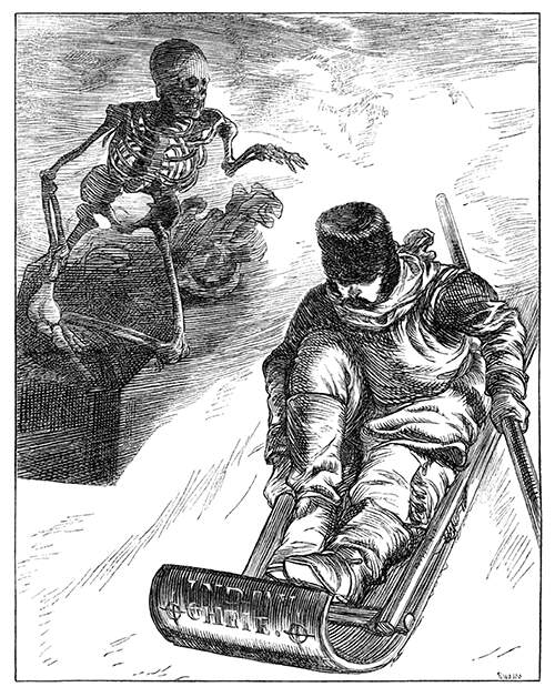 A man riding a toboggan down a slope is pursued by a skeleton in a coffin