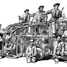 View of Ferroux's pneumatic boring machine with its operating crew of workers
