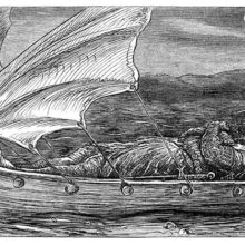 A knight on his last journey lies in a small boat with a figurehead in the shape of a swan