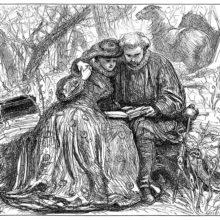 Two lovers are sitting in the woods, leaning against each other while reading from the same book