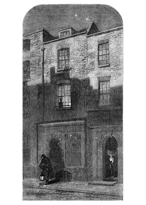 Night scene showing showing the façade of the house where J. M. W. Turner was born