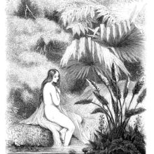 A young woman is sitting half-naked on a riverbank, surrounded by tropical vegetation