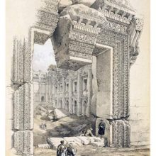 Monumental doorway of the Temple of Bacchus at Baalbek, showing a loose lintel keystone