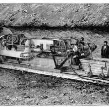 The Boring machine designed by F. Beaumont in action in the first attempted Channel Tunnel