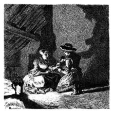 A woman and a man are merrily drinking together in an attic, by the light of a lantern