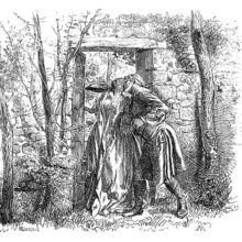 A couple in eighteenth-century dress stands in a garden doorway, kissing passionately