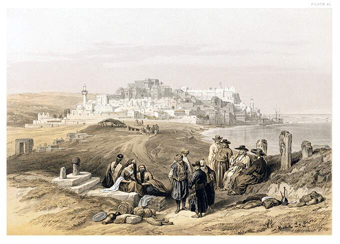 General view of Jaffa with the Mediterranean on the right and people resting in the foreground