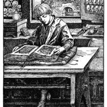 A boy is sitting at a table reading an illuminated manuscript with his back to a window