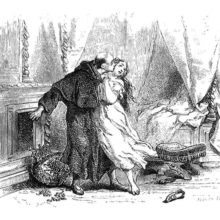 A man in a clerical robe embraces and kisses a woman fresh out of her bed
