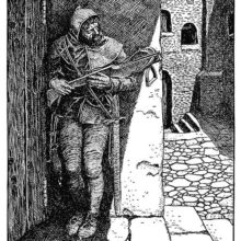 A man with a crossbow hides in wait in the shadow of a doorway