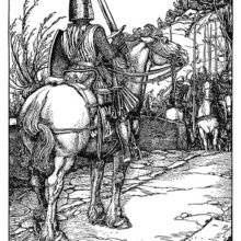 A knight on horseback holds a two-handed sword while facing a group of horsemen armed with spears