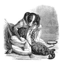 A dog is gently spoon feeding a cat reclining on a cushion