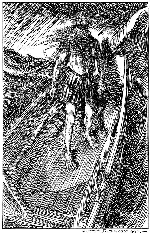 A long-bearded man stands defiantly at the stern of a small boat caught in a storm