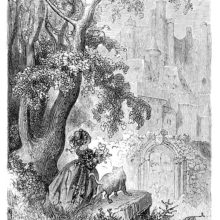 A little girl with a cat at her side at some distance of the entrance of a towering castle