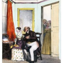 A soppy middle-aged man woos a girl as her parents watch the scene from behind a door
