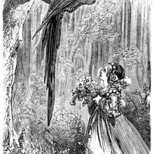 A young girl stands under a tree, looking up at a large bird sitting on a branch