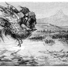 A boy rides a flying rooster over a broad river landscape with bulrushes and water lilies