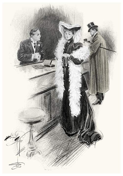 A woman wearing a feather boa stands before a display case at a jeweler's, examining a necklace