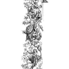 Three busy figures can be seen from the waist up embedded in a vertical scroll ornament