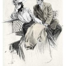 A woman is sitting on a bench next to a man, turning away from him while holding a handkerchief