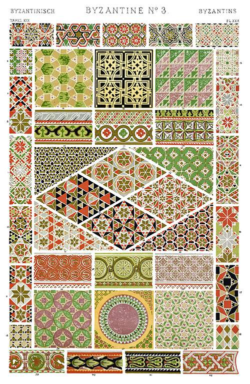 Color plate showing a variety of Byzantine ornaments From Ravenna, Venice, Rome, etc.
