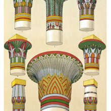 Color plate showing a variety of ancient Egyptian capitals with painted ornaments
