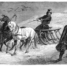 The driver of a sleigh drawn by three horses stops by a wary man hiding a knife behind his back.
