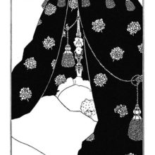 Self-portrait showing Aubrey Beardsley tucked beneath the sheets of a monumental bed