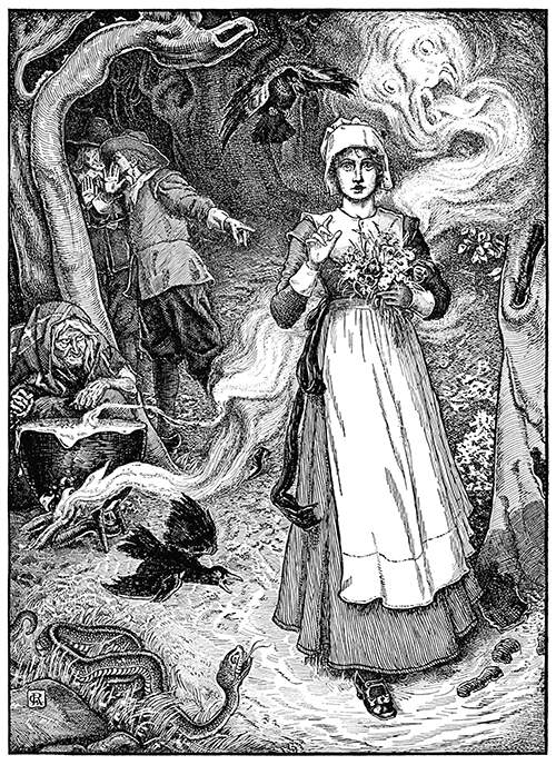 A young woman with a bunch of flowers walks a path in the woods surrounded by hostile figures