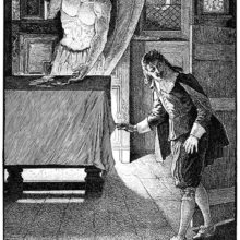 A man stealthily enters a room as a devilish figure standing by a cabinet lays money on a table