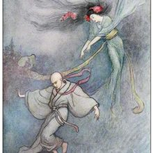 A woman is gracefully floating in mid-air as she gestures toward a man running away from her