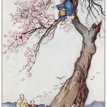 An old man is sitting on the blooming branch of a cherry tree and scatters ashes from a basket