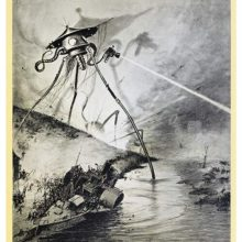 A tall robot-like creature shoots a ray gun across a river where a steamboat leans to one side