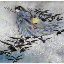 A woman travels through a starry sky, riding on the backs of magpies flocking around her
