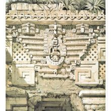 Mayan architectural decoration surmounting the main doorway of the Governor's Palace at Uxmal