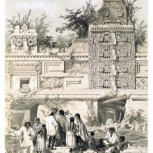 A group of people is gathered in front of a Mayan building showing elaborate decoration