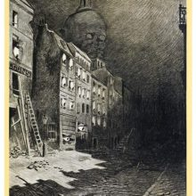 A large eyeballs stare behind the windows of a street as a gigantic head looms over the roofs