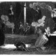 A scared woman is sitting in a dark room with menacing figures wearing hooded cloaks and masks