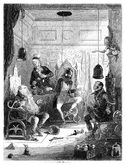Three men are fettered in armchairs as helmets come down from the ceiling to cover their heads