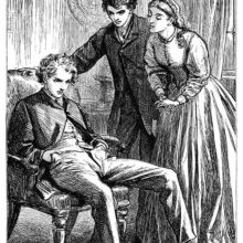 An annoyed young man sits in an armchair as another man and a woman at his side try to comfort him