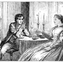 A man and a woman are sitting at a table lit by two candles about which moths are fluttering